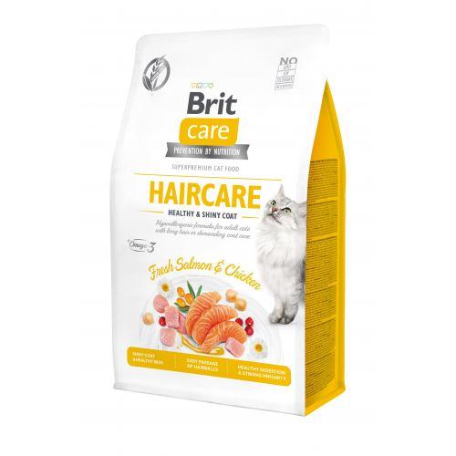 BRIT CARE CAT HAIRCARE HEALTHY & SHINY COAT  – сухий корм для дорослих котів, шерсть яких вимагає додаткового догляду