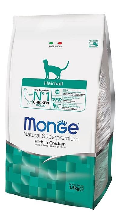 MONGE HAIRBALL – сухий корм для дорослих котів