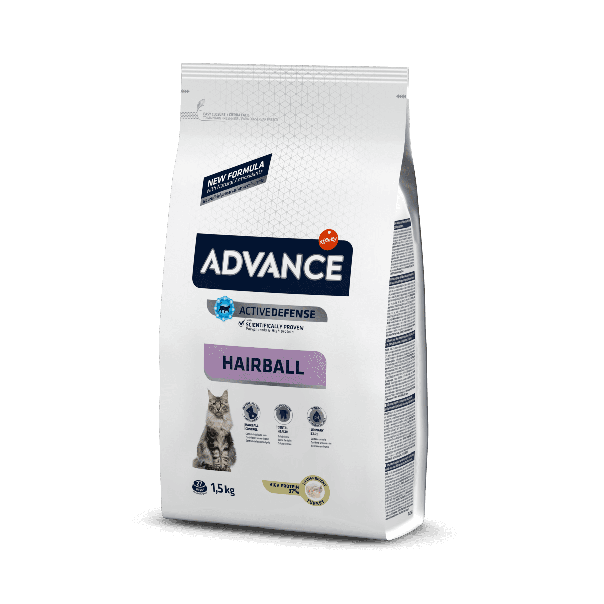 Advance Hairball – сухой корм с индейкой для домашних котов и кошек