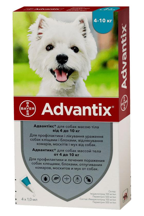 Advantix капли от блох и клещей для собак весом от 4 кг до 10 кг