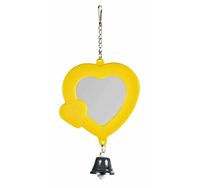 Trixie зеркало-сердечко с колокольчиком из пластика для птиц