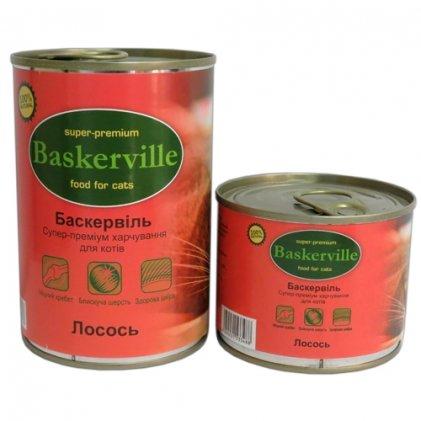 Baskerville консервы с лососем для взрослых котов
