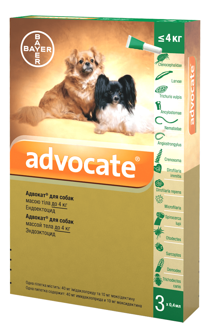 Advocate капли против паразитов для собак весом до 4 кг