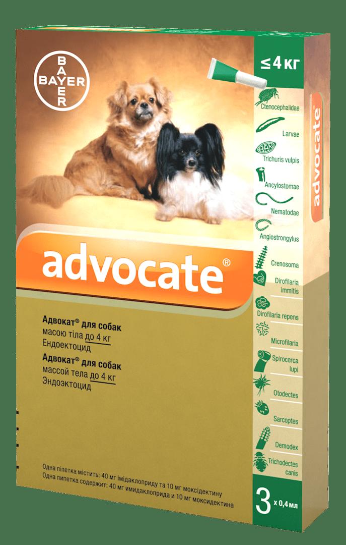 Advocate каплі проти паразитів для собак вагою до 4 кг