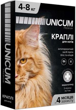 Unicum premium краплі від бліх і кліщів на холку для великих котів масою 4-8 кг (імідаклоприд)