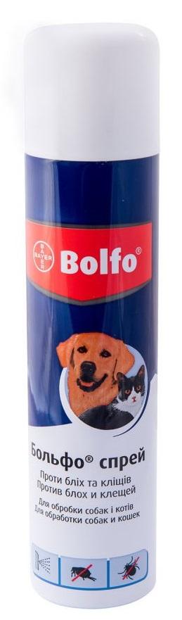 Bolfo – спрей для котов и собак для защиты от блох, вшей, власоедов и иксодовых клещей