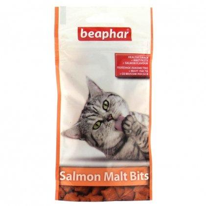 Beaphar Salmon Malt Bits – подушечки с лососем и мальт-пастой для котов для вывода шерсти