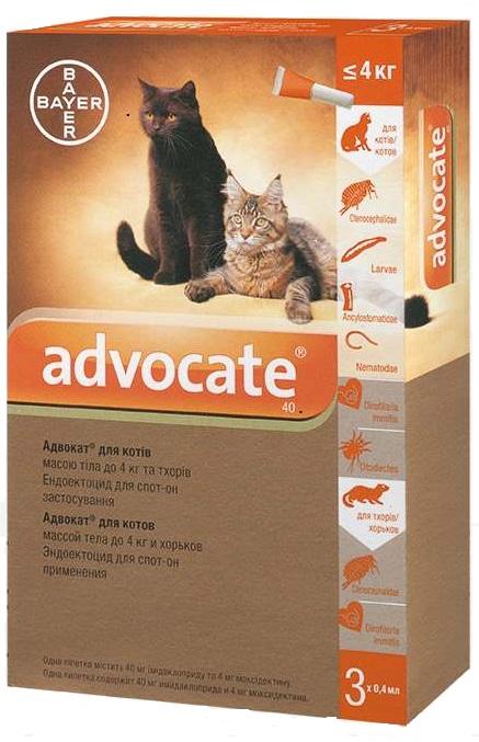 Advocate противопаразитарные капли для котов весом до 4 кг