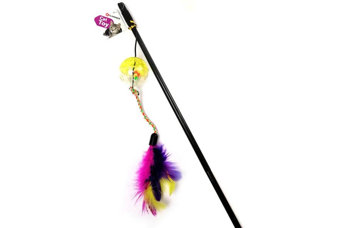 Flamingo Ball & Feathers – іграшка на вудці з м'ячем і пір'ям
