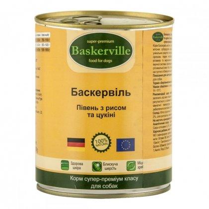 Baskerville вологий корм з м'ясом півня, рисом та цукіні для дорослих собак