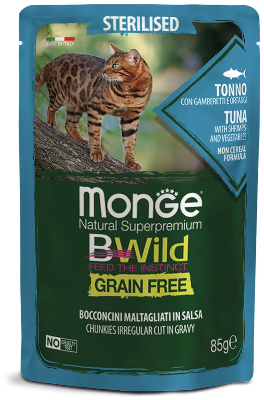 MONGE BWILD STERILISED CAT GRAIN FREE TONNO – консервированный корм с тунцом и овощами для стерилизованных кошек