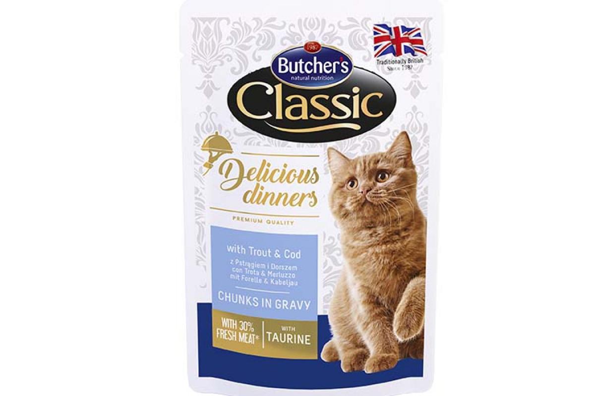 Butcher's Cat Delicious вологий корм із фореллю і тріскою для дорослих котів