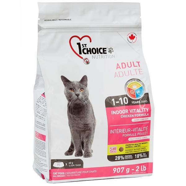 1ST CHOICE ADULT INDOOR VITALITY CHICKEN – сухой корм с курицей для домашних кошек
