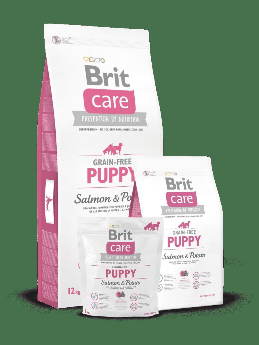 BRIT CARE GRAIN FREE PUPPY SALMON & POTATO – беззерновой сухой корм с лососем и картофелем для щенков всех пород