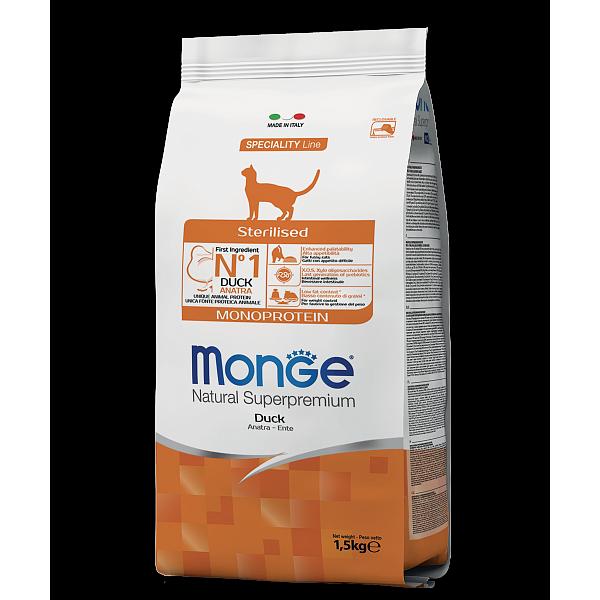 Monge Sterilised Monoprotein Duck – сухой корм с уткой для стерилизованных кошек