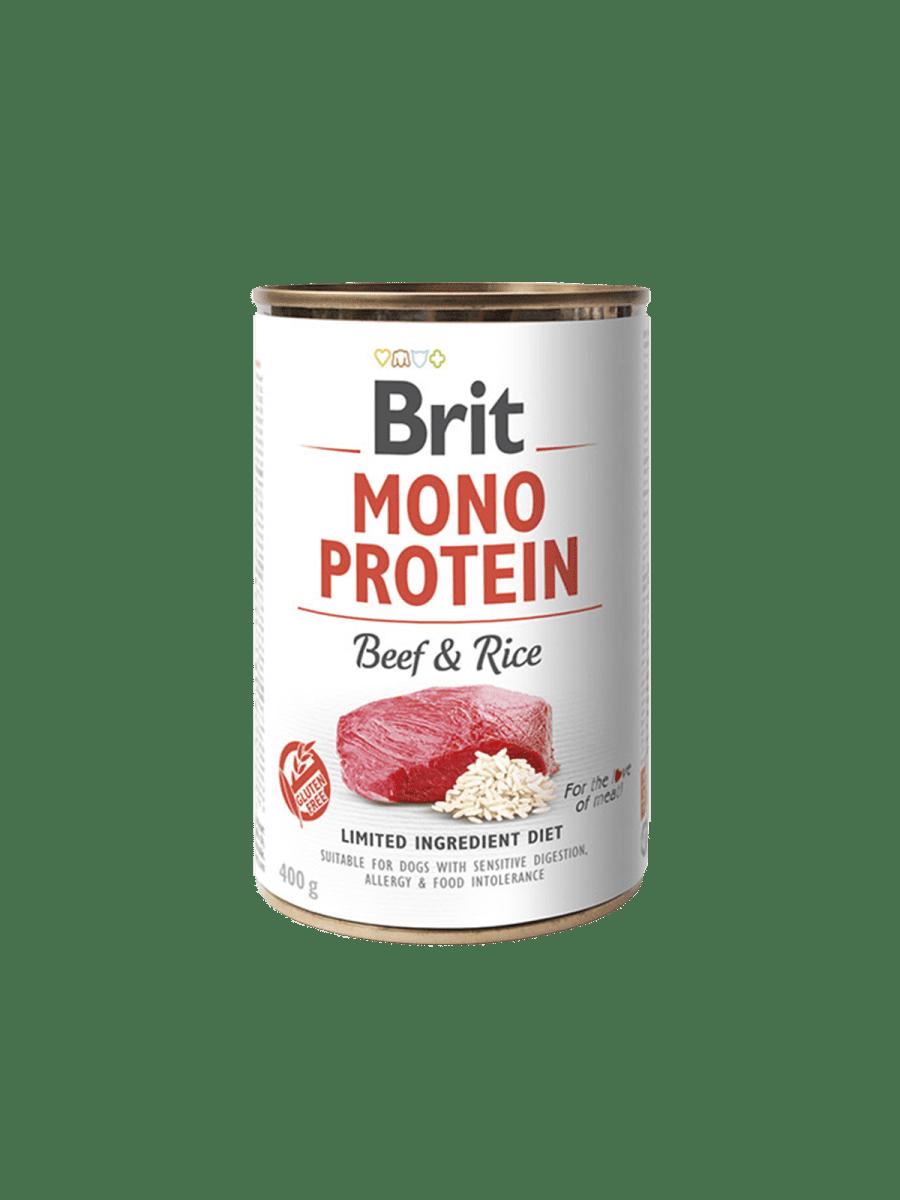 BRIT MONO PROTEIN BEEF & RICE – консерва з яловичиною та темним рисом для собак з чутливим травленням
