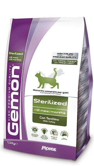 GEMON CAT STERILIZED – сухий корм з індичкою для дорослих стерилізованних котів