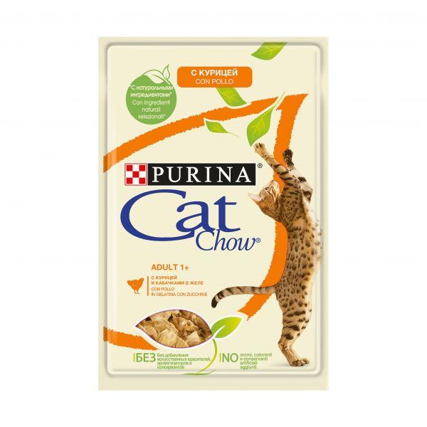 CAT CHOW консерва з куркою і кабачками для дорослих котів