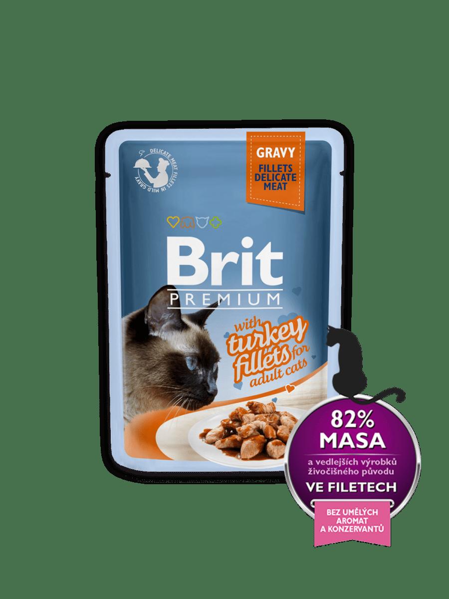 BRIT PREMIUM WITH TURKEY FILLETS IN GRAVY – влажный корм, кусочки филе индейки в соусе, для взрослых котов