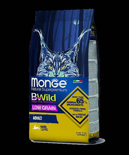 MONGE CAТ LOW GRAIN ADULT HARE - сухий низькозерновий корм із м'ясом зайця для котів