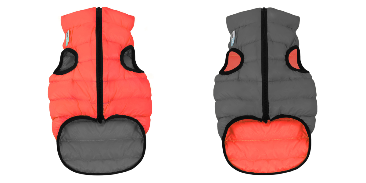 AiryVest – двухсторонняя куртка для собак, кораллово-серая