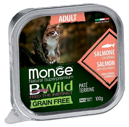 MONGE BWILD ADULT CAT FREE PATÉ TERRINE SALMONE – консервированный корм с лососем и овощами для взрослых кошек