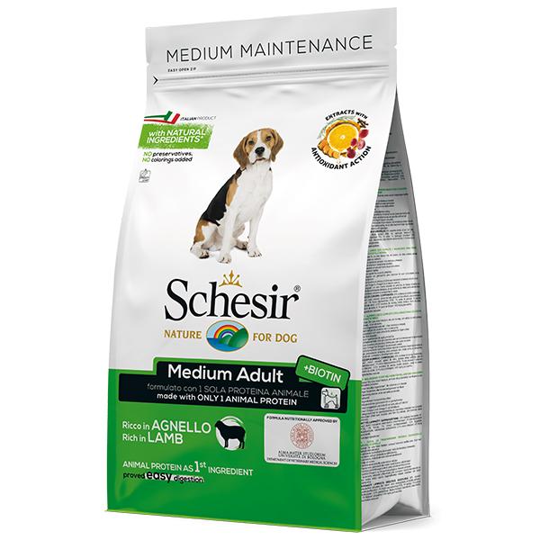 Schesir Dog Medium Adult Lamb  – сухий монопротеїновий корм з ягням для собак середніх порід
