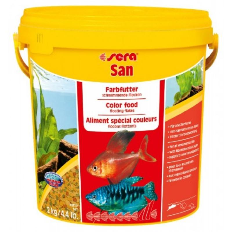 Sera San – корм для улучшения цвета декоративных рыб в хлопьях