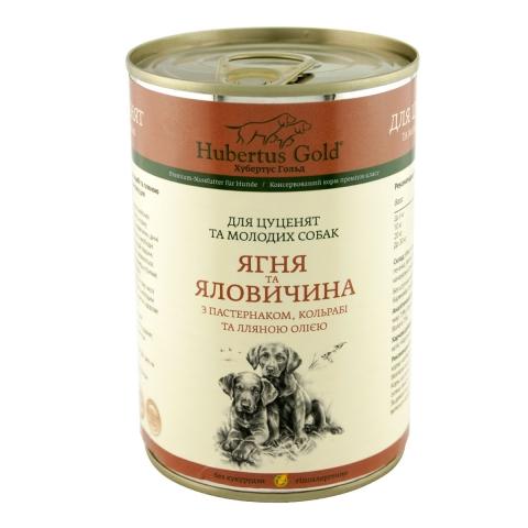 HUBERTUS GOLD JUNIOR вологий корм з ягням та яловичиною для цуценят