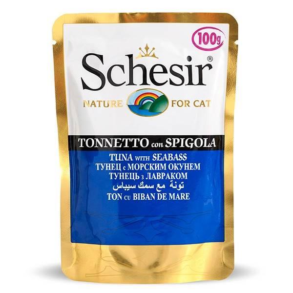 Schesir Tuna Seabass влажный корм с тунцом и окунем для взрослых котов