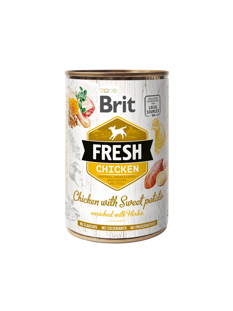 BRIT FRESH CHICKEN WITH SWEET POTATO – консервы с курицей и бататом для взрослых собак