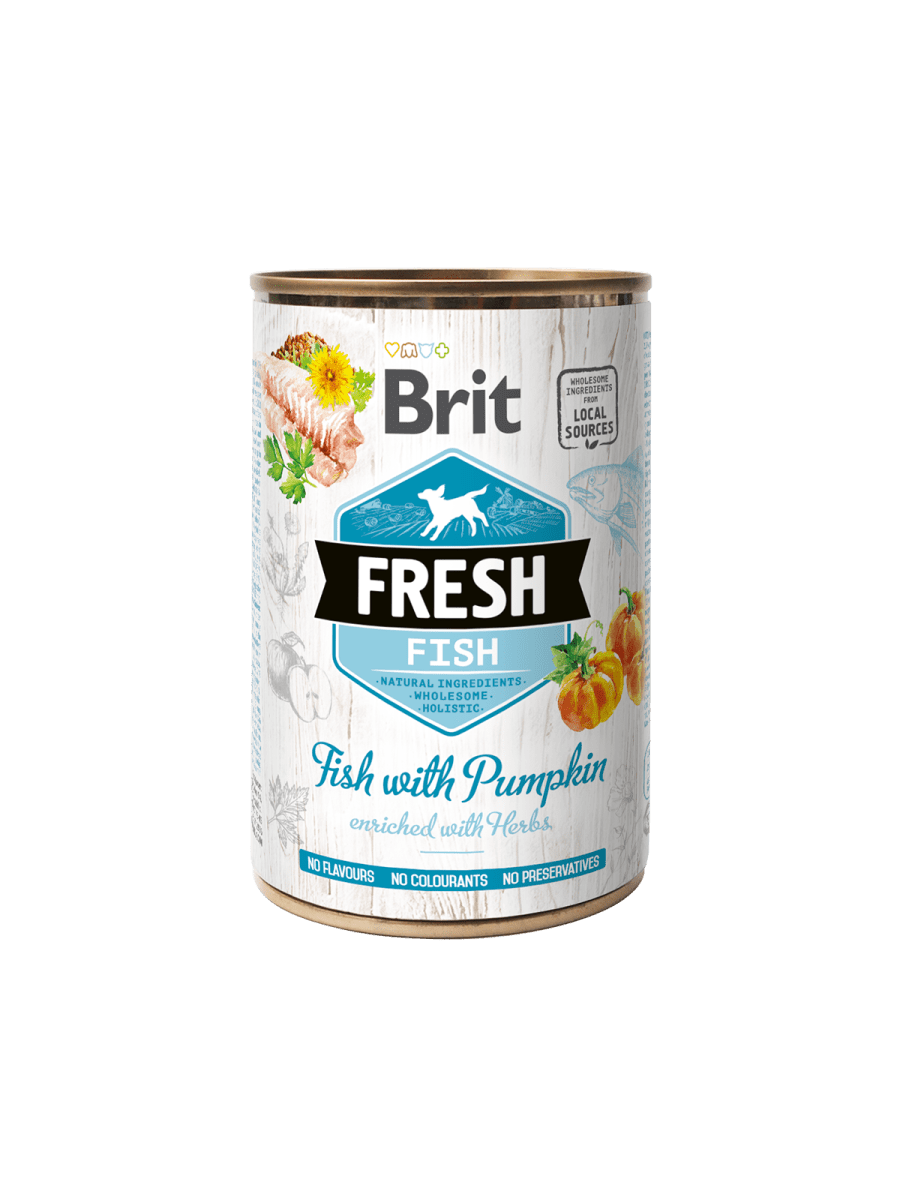 BRIT FRESH FISH WITH PUMPKIN – консерва с рыбой и тыквой для взрослых собак