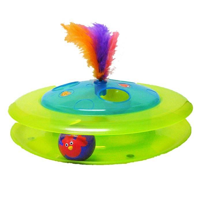 PETSTAGES интерактивная игрушка для котов, трек с мячиком и птичкой