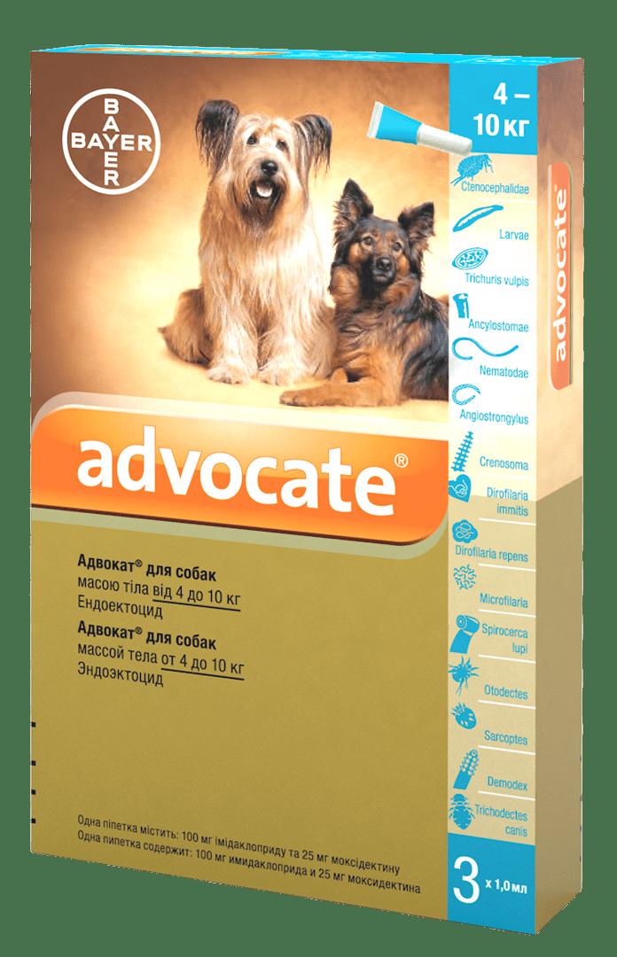 Advocate капли против паразитов для собак весом от 4 кг до 10 кг