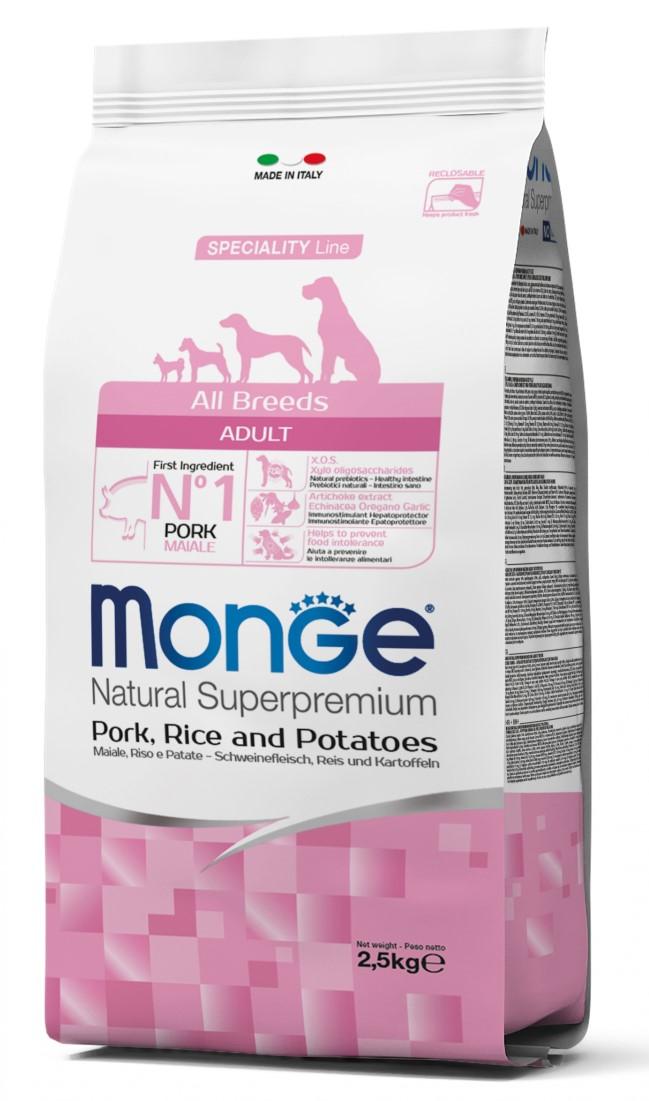 Monge All Breads Adult Pork, Rice and Potatoes – сухий корм зі свининою для дорослих собак усіх порід