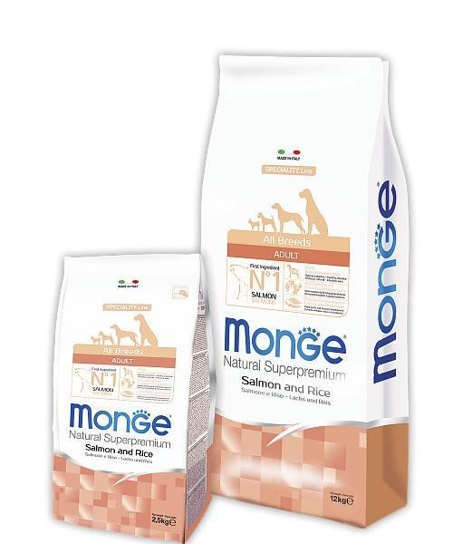 MONGE ALL BREEDS ADULT SALMONE AND RICE – сухой корм с лососем и рисом для взрослых собак всех пород