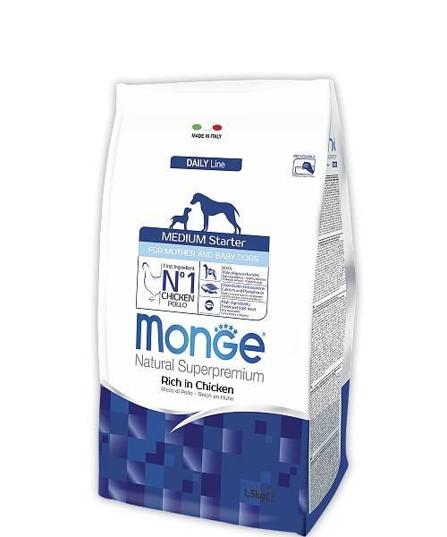 MONGE MEDIUM STARTER FOR MOTHER AND BABY – сухий корм для цуценят середніх порід і собак під час вагітності та лактації