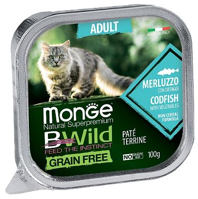 MONGE BWILD ADULT CAT FREE PATÉ TERRINE MERLUZZO – консервированный корм с треской и овощами для взрослых кошек