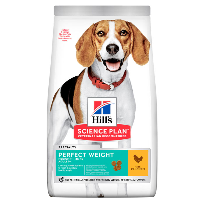 HILL'S SCIENCE PLAN PERFECT WEIGHT MEDIUM ADULT – сухой корм с курицей для взрослых собак средних пород для поддержания здорового веса