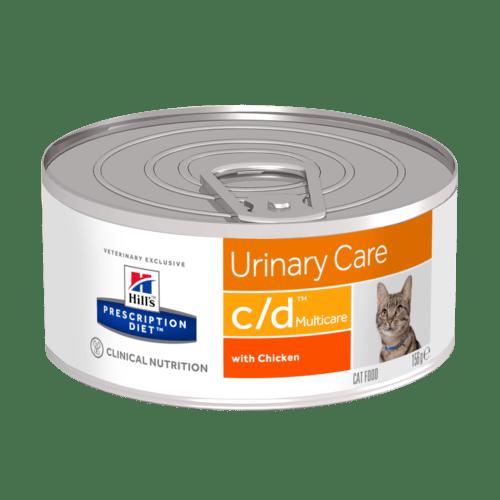 HILL'S Prescription Diet Feline C/D – лечебный влажный корм c курицей для котов, предупреждение образования струвитов, оксалатов, при цистите