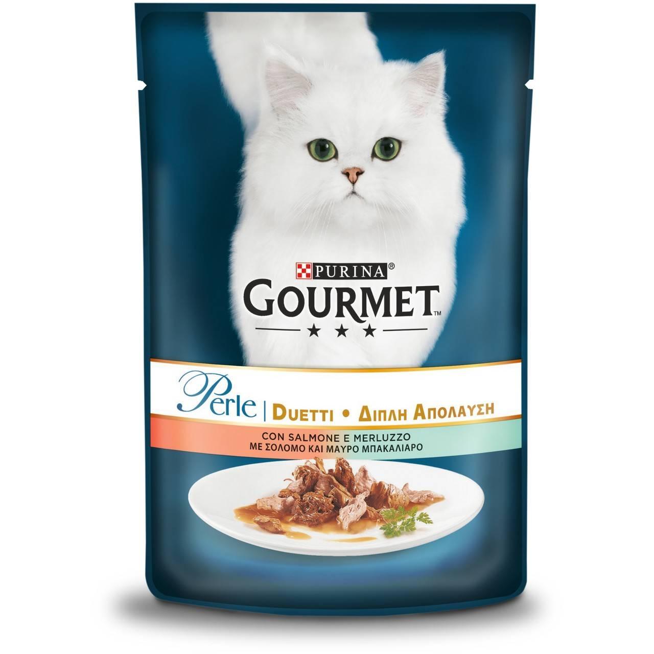 GOURMET PERLE DUO вологий корм із лососем і сайдою для дорослих котів