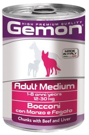 Gemon Adult Medium Chunks with Beef and Liver – консервы с кусочками говядины и печени для взрослых собак средних пород