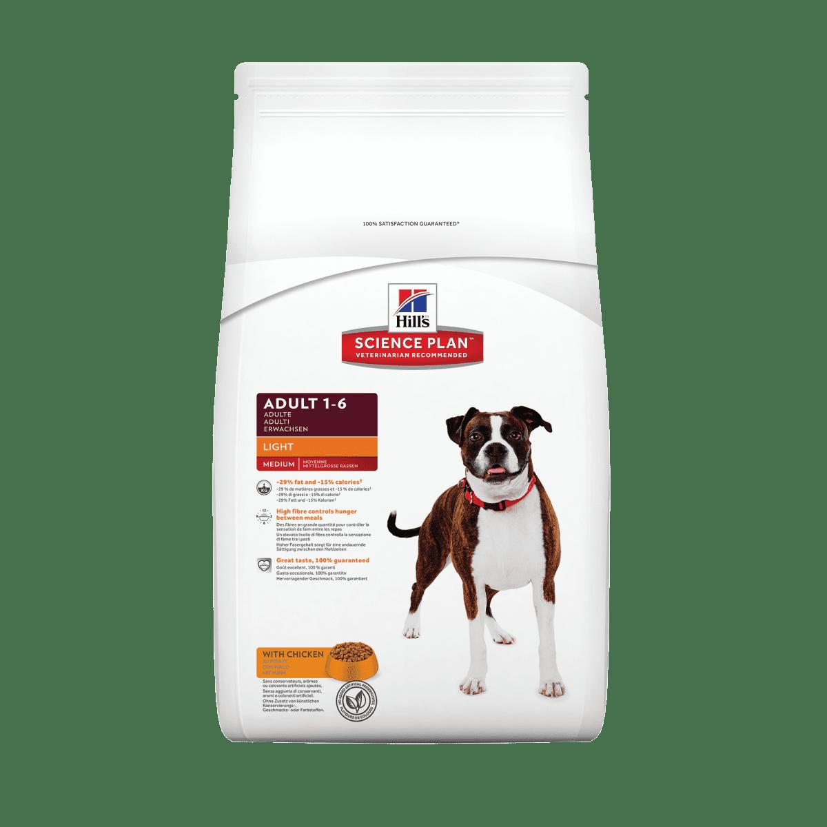 HILL'S SCIENCE PLAN ADULT MEDIUM  LIGHT – сухий корм з куркою для малоактивних дорослих собак середніх порід