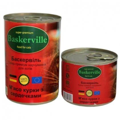 Baskerville консервы с курицей и сердечками для взрослых котов
