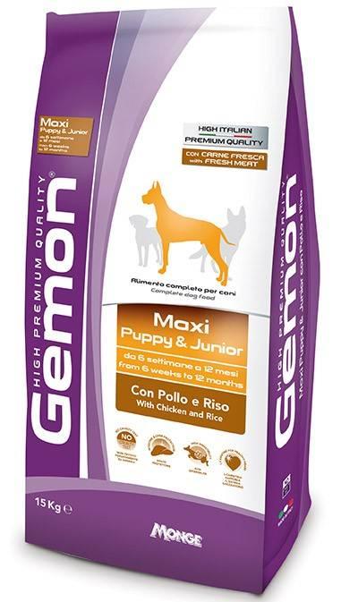 GEMON MAXI PUPPY & JUNIOR – сухий корм з куркою та рисом для цуценят великих порід