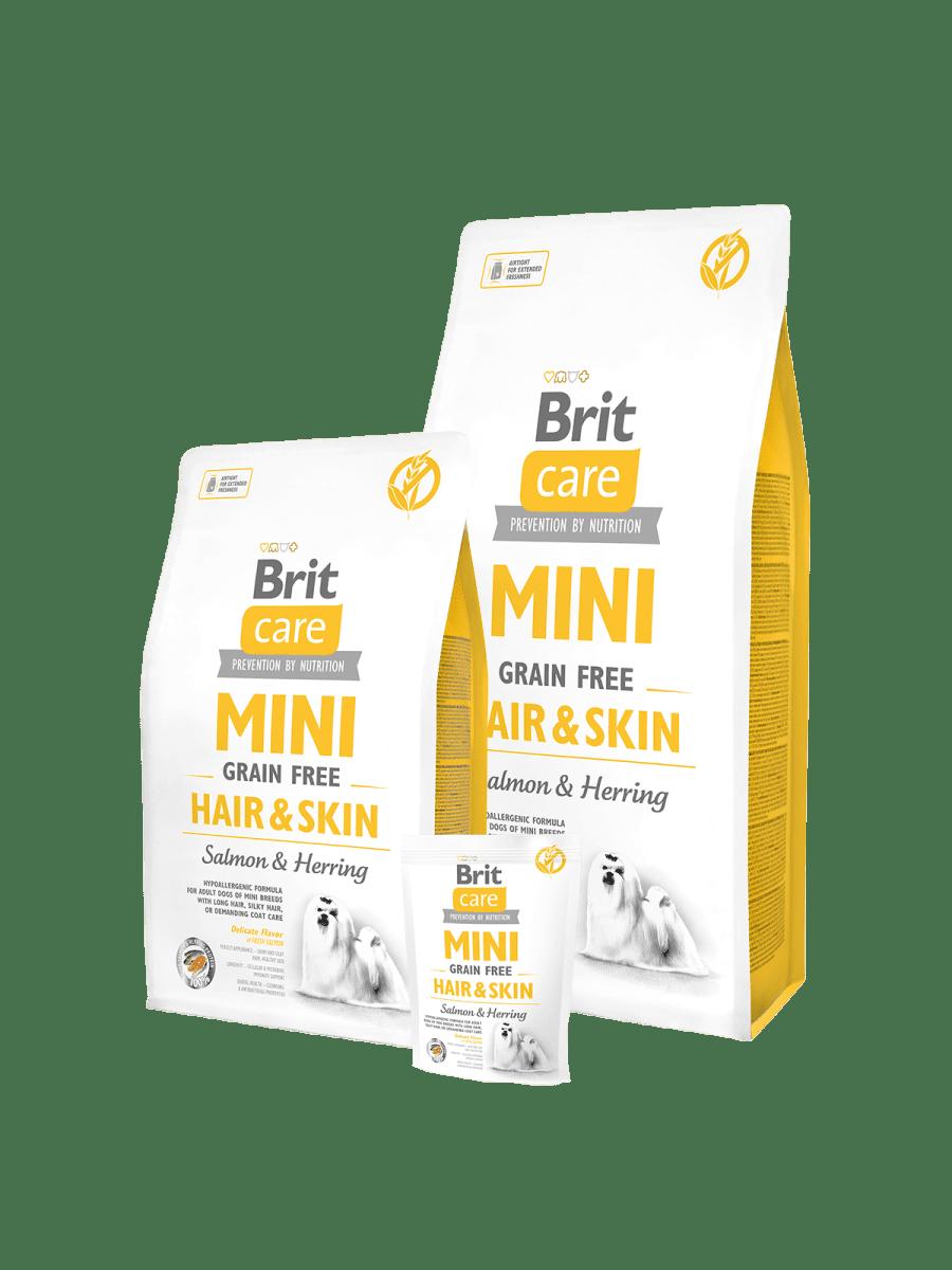 BRIT CARE MINI GRAIN FREE HAIR & SKIN – сухой корм для собак миниатюрных пород с длинной шерстью