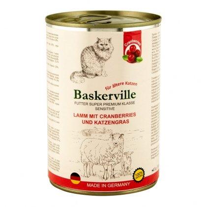 BASKERVILLE SENSETIVE – консервы с ягненком, клюквой и кошачьей мятой для взрослых котов склонных к аллергическим реакциям