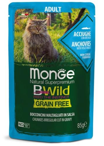 MONGE BWILD ADULT CAT GRAIN FREE ACCIUGHE – консервированный корм с анчоусами и овощами для взрослых кошек