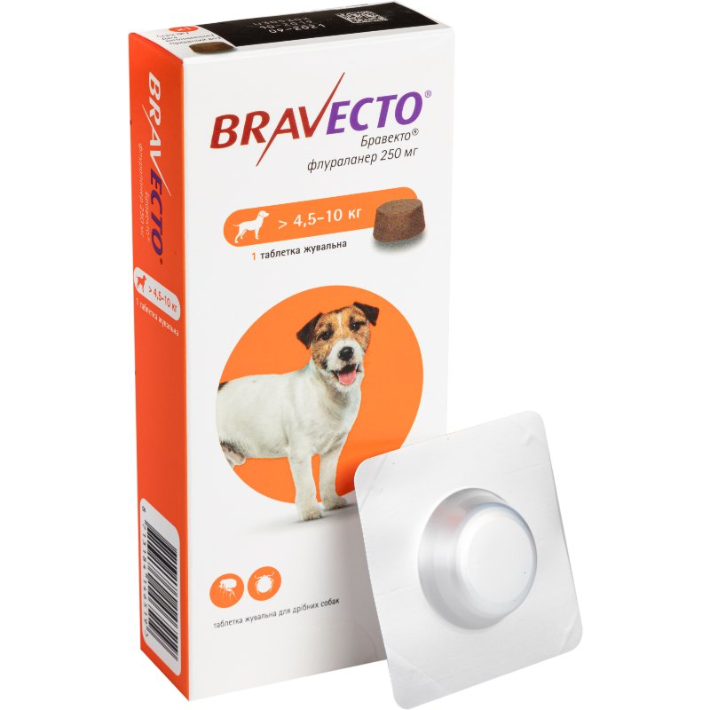 Bravecto жувальні таблетки від бліх і кліщів для собак вагою від  4,5 кг до 10 кг