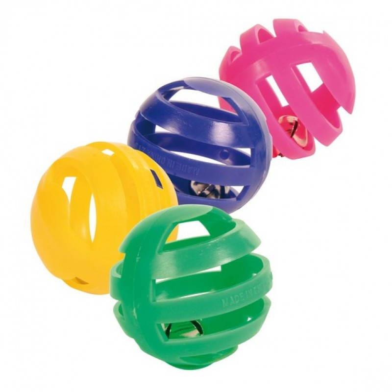 Trixie пластиковые мячики с колокольчиками для кошек